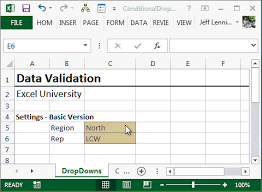 Excel sheet data validation feature